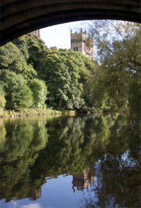 Durham Cathedral from the embankment of the River Wear