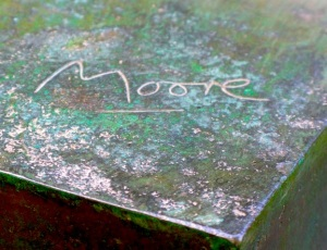 Moore's signature on sculpture plinth