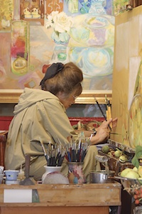 Christiane Kubrick at her easel