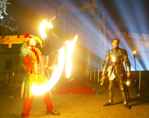 Fire juggler and knight in armour