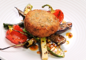 Loch Fyne smoked salmon fishcake served with baby roasted vegetables