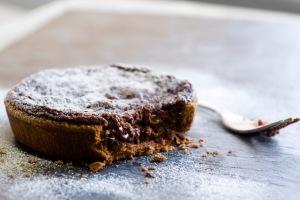 Chocolate & Morello Cherry Tart on slate