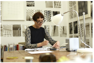 Cornelia Parker at work on Magna Carta (An Embroidery), Photograph by Joseph Turp